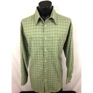 Orvis Button Up Shirt Plaid Green Cotton XL